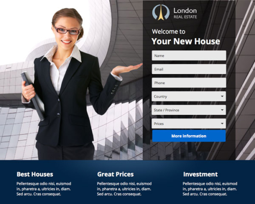 London Instapage Real Estate Landing Page